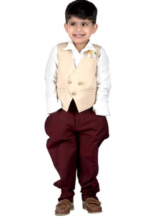 beige-suiting-fabric-double-breasted-waistcoat-with-maroon-cotton-silk-dhoti-pants