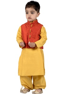 orange-brocade-parrot-button-nehru-jacket-with-yellow-cotton-silk-kurta-salwar