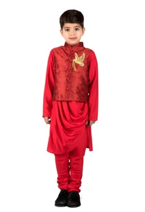 red-brocade-pigeon-embroidered-nehru-jacket-with-modal-draped-kurta-churidar