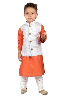 light-blue-printed-rayon-nehru-jacket-with-orange-cotton-silk-kurta-cotton-churidar