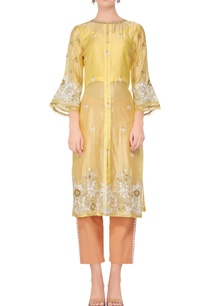 yellow-embroidered-straight-kurta-with-peach-pants