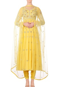 yellow-embroidered-anarkali-kurta-with-churidar-dupatta