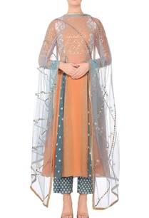 orange-embroidered-a-line-kurta-with-blue-embroidered-pants-dupatta