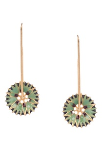 green-brass-flower-shaped-dangler-earrings