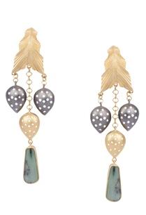 golden-brass-peruvian-blue-opal-leaf-and-drop-dangler-earrings
