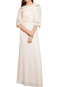 powder-pink-crepe-georgette-sequin-bell-sleeved-gown