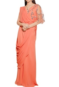 burnt-orange-georgette-silk-embellished-saree-gown