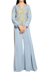 steel-grey-organza-gold-embroidered-jacket-with-flared-georgette-pants