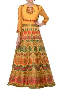 mustard-yellow-banarasi-georgette-floral-resham-embroidered-anarkali
