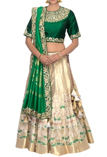 gold-green-banarasi-silk-lehenga-set