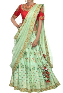 apple-green-red-woven-banarasi-linen-lehenga-set