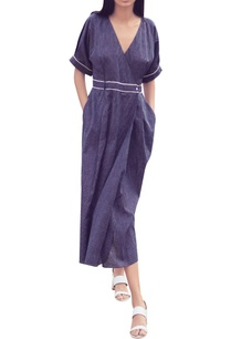 navy-blue-pinstripe-hand-woven-cotton-wrap-dress-with-tie-up-belt