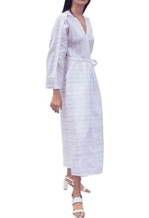 white-pinstripe-hand-woven-cotton-linen-wrap-around-dress