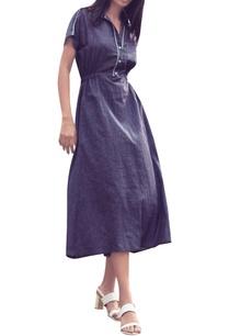 blue-pinstripe-collar-style-midi-dress