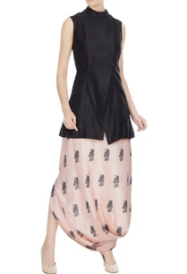 black-silk-jacket-with-beige-printed-draped-skirt