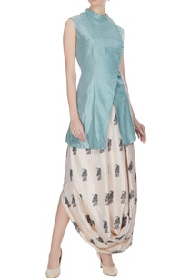 blue-beige-silk-overlap-jacket-with-printed-draped-skirt