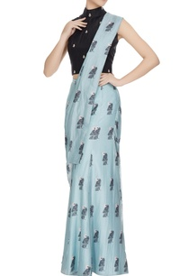 teal-blue-black-concept-saree-with-attached-pants-drape-blouse