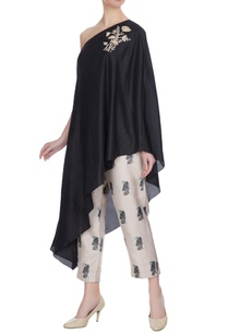 black-one-shoulder-kurta-with-bird-printed-cigarette-pants