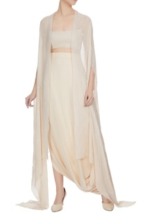 beige-fitted-bustier-with-draped-skirt-embellished-cape