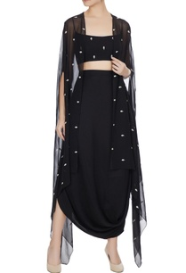 black-front-open-kardhana-work-cape-set