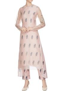 nude-sheer-organza-kurta-with-printed-inner-cigarette-pants
