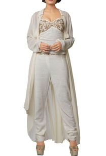 ivory-silk-georgette-khadi-cotton-embroidered-crop-top-with-slim-pants-long-jacket