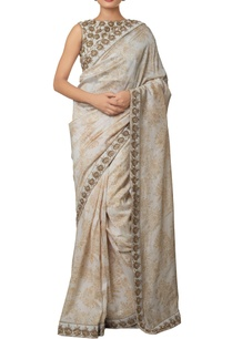cream-silk-chanderi-khadi-silk-hand-embroidered-saree-with-gold-antique-zardozi-work-blouse
