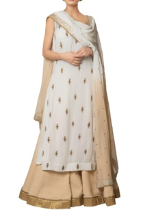 multi-colored-viscose-georgette-chanderi-silk-embroidered-buti-long-kurta-with-shaded-lehenga-embroidered-dupatta