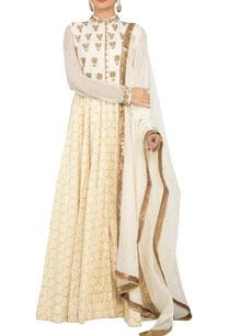 multi-colored-raw-silk-khadi-silk-zardozi-embroidered-anarkali-kurta-with-churidar-dupatta
