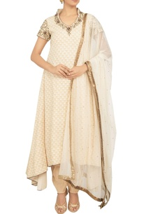 beige-khadi-silk-net-zardozi-embroidered-anarkali-kurta-with-churidar-dupatta