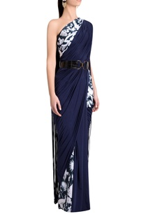 sapphire-italian-jersey-solid-fringed-pleated-skirt-saree