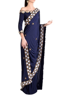 sapphire-italian-jersey-solid-embellished-pleated-skirt-saree-with-clove-skein-work
