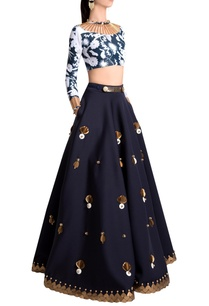 sapphire-neoprene-embellished-skirt-with-beetle-skein-work