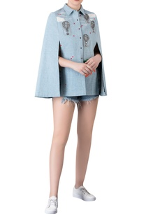 frilled-sleeves-denim-cape-shirt