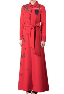 red-umbrella-leaf-motif-embroidered-jumpsuit