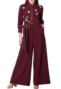 plum-barbie-crepe-jumpsuit-with-tie-up-belt