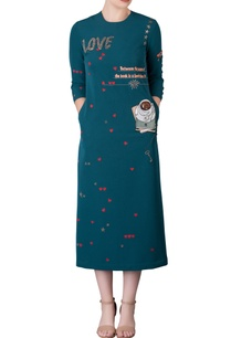 emerald-mid-dress-with-hand-embroidered-book-motifs