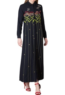 black-polyester-shirt-maxi-dress