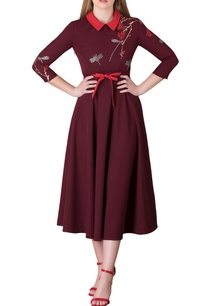 plum-red-dragonfly-motif-embroidered-midi-dress