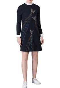 black-mini-dress-with-contrast-collar-sleeve-cuffs