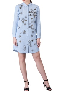 ice-blue-sequin-bead-hand-embroidery-shirt-dress