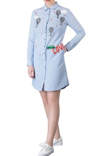 icy-blue-car-motif-embroidered-chambray-shirt-dress