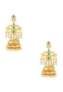 dangling-jhumka-earrings-with-kundan-pearls