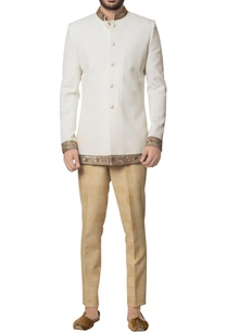 white-khadi-cotton-zardozi-embroidered-bandhgala-with-brown-hand-block-print-trouser-inner-kurta