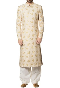 beige-khadi-cotton-hand-block-print-sherwani-with-white-khadi-cotton-salwar