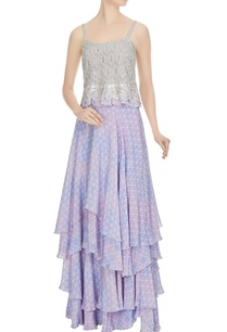 lilac-embroidered-geometric-top-with-printed-skirt