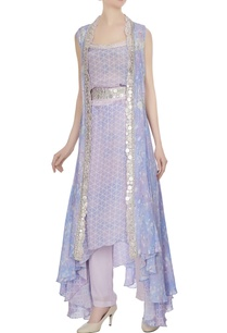 lilac-printed-jacket-with-geometric-printed-kurta-pants-belt