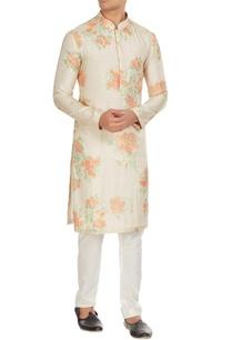 white-orange-floral-printed-kurta-with-churidar