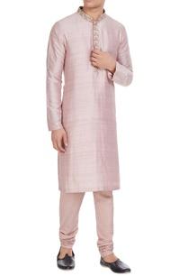 pink-raw-silk-kurta-with-embroidered-collar-spun-silk-churidar