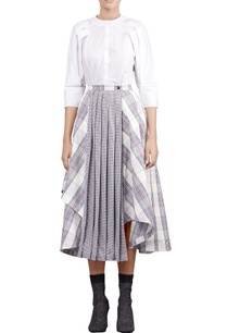 multicolored-check-printed-asymmetric-skirt